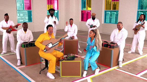Ariana Grande and Jimmy Fallon Perform No Tears Left to Cry Using Nintendo Labo Cardboard Instruments
