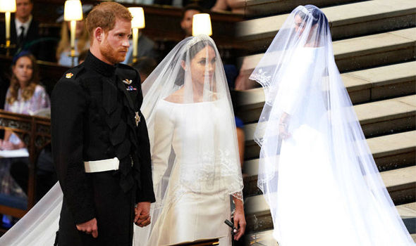 Meghan Markle royal wedding dress first look as she enters chapel to marry Prince Harry