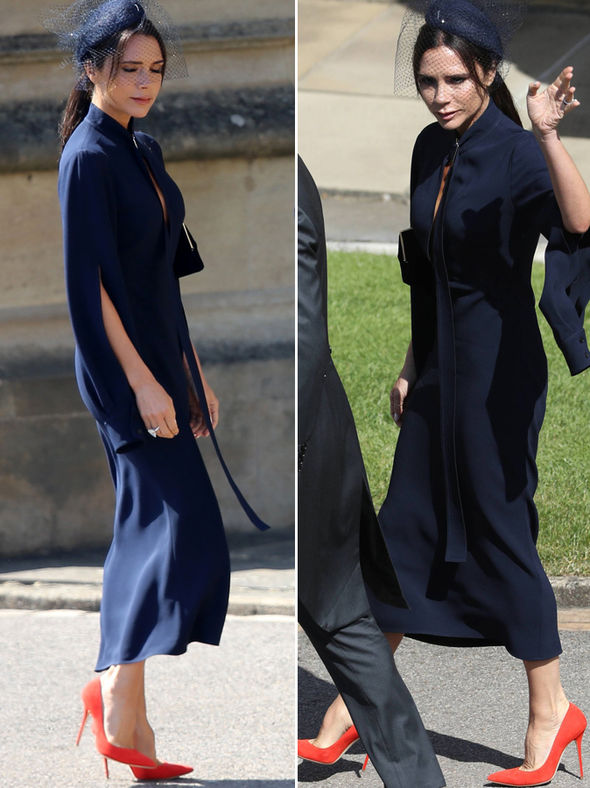 Victoria Beckham arrives for the royal wedding in a figure hugging navy pencil dress
