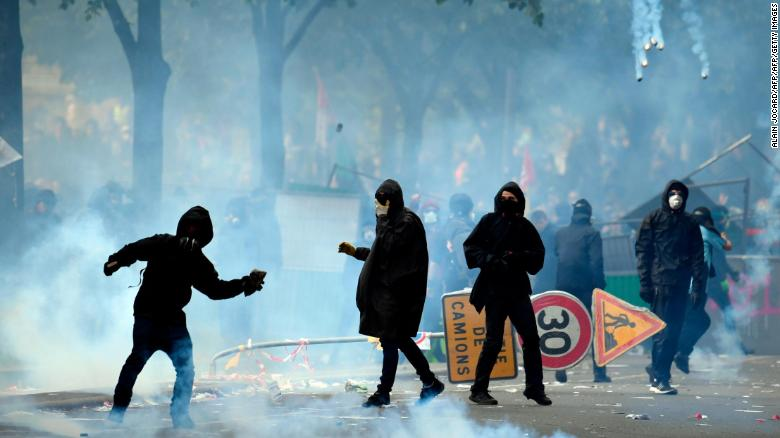 Hundreds detained after Paris May Day protests turn violent