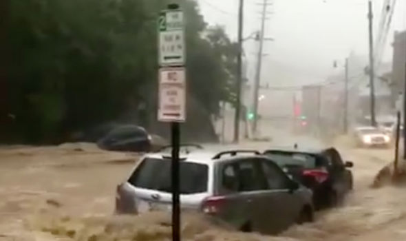 CATASTROPHIC flash flood in Ellicott City Maryland as state of EMERGENCY declared