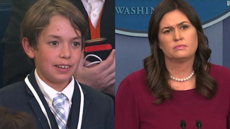 Sarah Sanders gets choked up after child asks about about senseless school shootings
