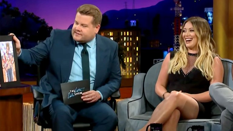 Hilary Duff Looks Back at Past Fashion Choices on The Late Late Show