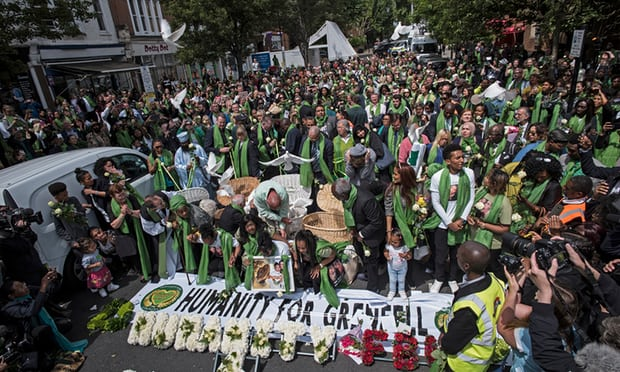Grenfell Tower fire: thousands attend silent march one year on