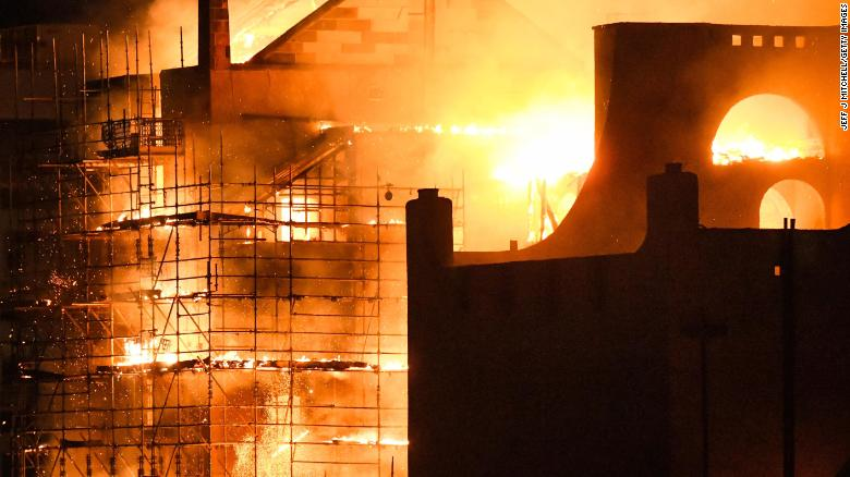 Fire ravages Glasgow School of Arts Mackintosh building -- again