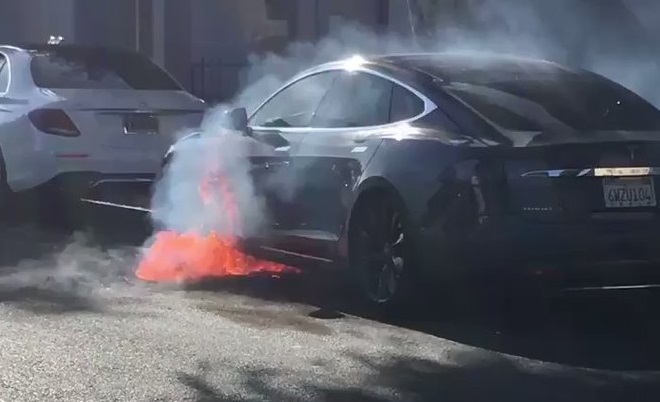 Tesla goes up in flames in video captured by actor Mary McCormack