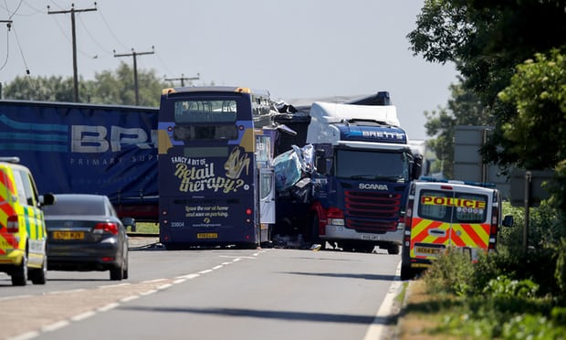 Two dead and 18 injured after Cambridgeshire bus-lorry crash