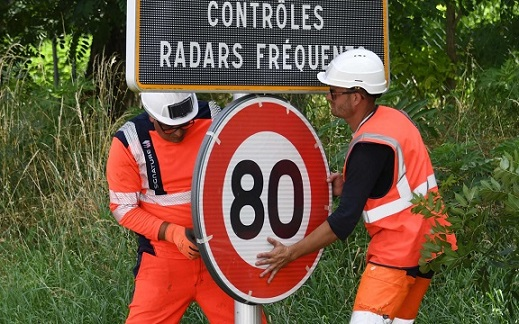 French protest Macrons new reduced speed limits