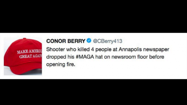 Reporter resigns after false tweet that Maryland shooting suspect had MAGA hat