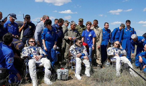 Russian space capsule with 3 crew lands in Kazakhstan