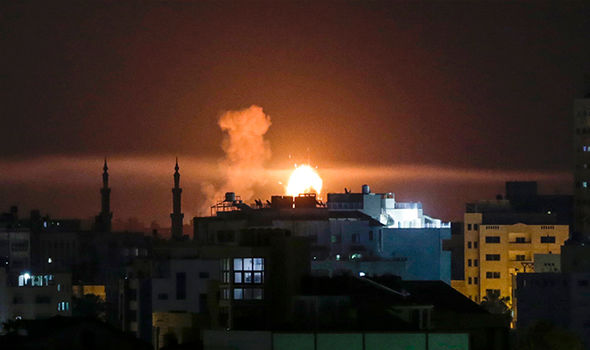 Israel intercepts MISSILES fired from Gaza Strip and responds with AIRSTRIKES
