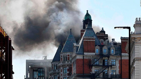 About 100 firefighters tackle blaze at London hotel