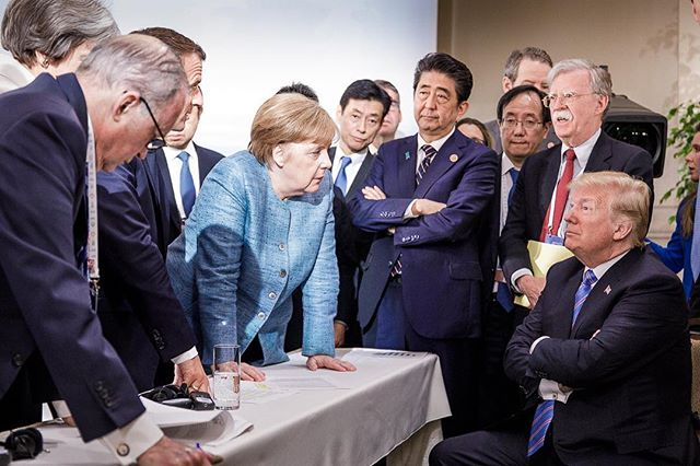 German Chancellor Merkels stare down photo sums up Trumps time at G-7