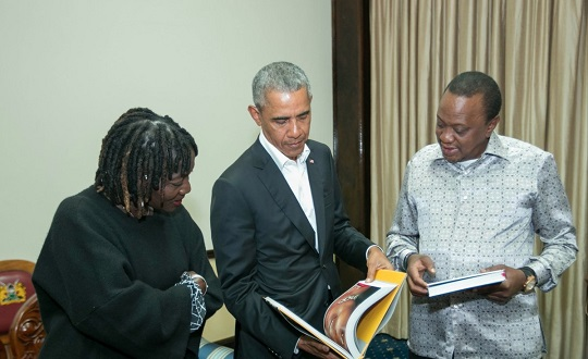 Obama is in Kenya for his sisters project. Then hes off to South Africa