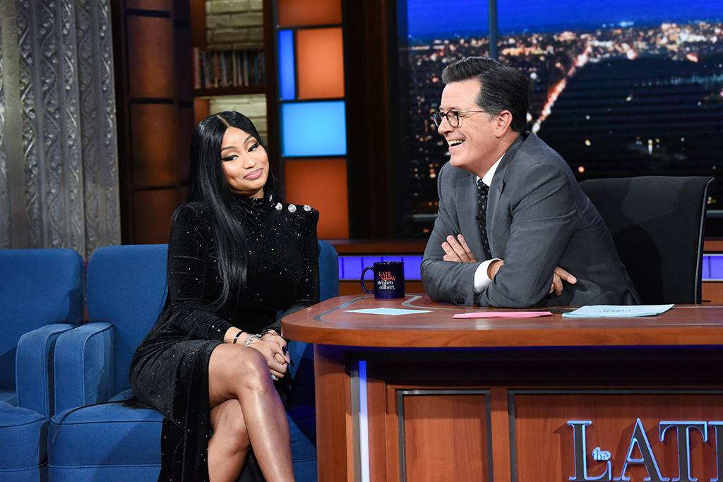 Flirty Nicki Minaj Makes Stephen Colbert Forget Hes Married
