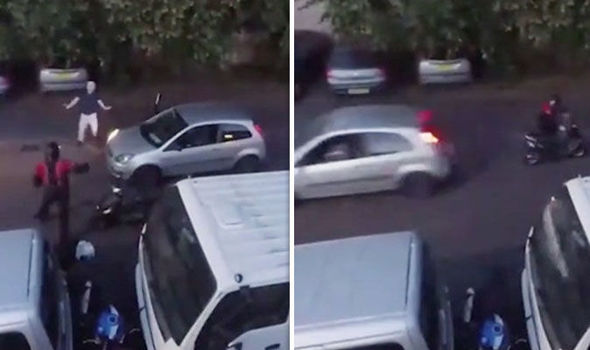 WATCH: Have-a-go hero sends motorbike thief FLYING as he rams him with Ford Fiesta