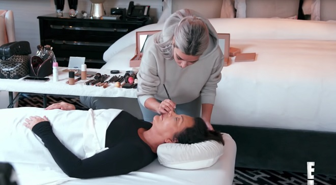 Watch Kim Kardashian Practice Doing Mortician Makeup on Mom Kris Jenner