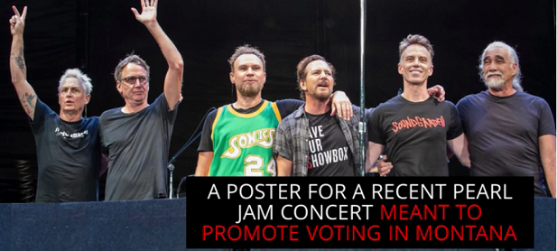 Pearl Jam defends poster showing eagle pecking Trumps corpse, burning White House