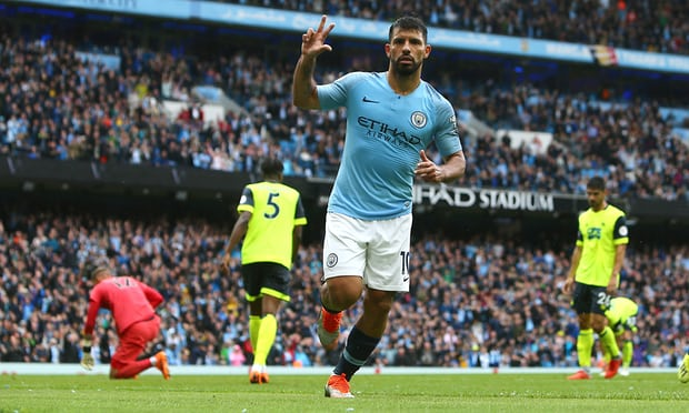 Sergio Agüero hits hat-trick in Manchester City's rout of Huddersfield