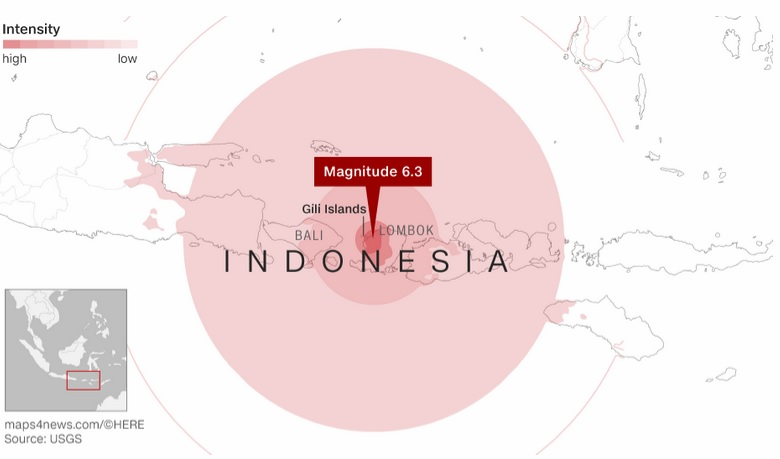 Major earthquakes strike near Fiji and in Indonesias Lombok island