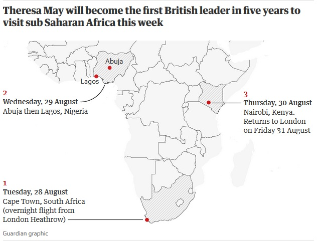Theresa May to make first trip to sub-Saharan Africa by UK leader in five years