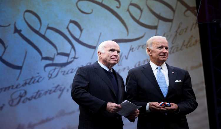 Biden, Larry Fitzgerald deliver tributes to John McCain at Phoenix memorial service