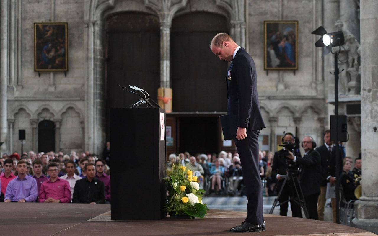 Prince William and Theresa May join ex-soldiers to celebrate Battle of Amiens which signalled beginning of end of WW1
