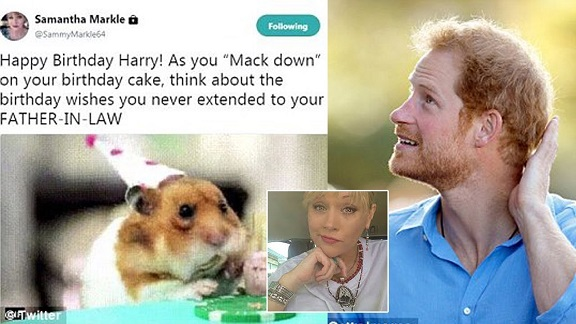Meghan Markles Half-Sister Samantha Markle Compares Prince Harry to a Hamster in Birthday Tweet