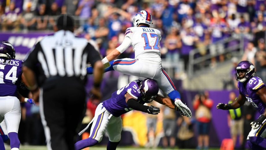Bills rookie QB Josh Allen hurdles Vikings as part of shocking start