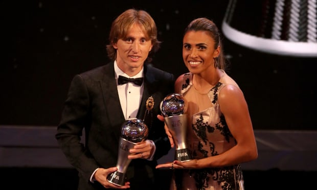Luka Modric and Marta win Fifa player of the year awards in London