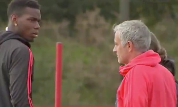 José Mourinho and Paul Pogba filmed in apparent training ground clash