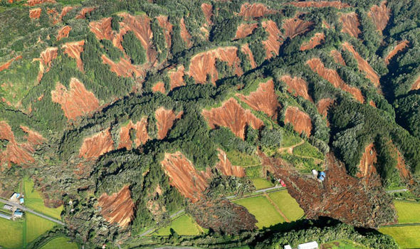 Japan earthquake: Aerial pictures show devastating landslides in Hokkaido