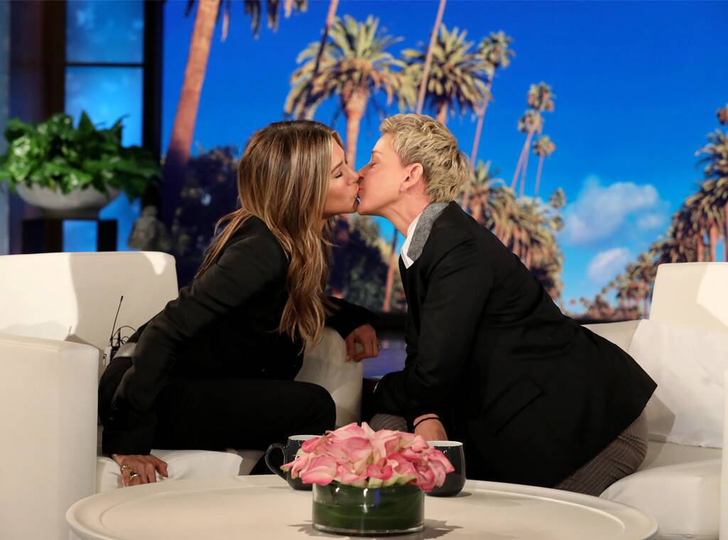Watch Jennifer Aniston Give Pal Ellen DeGeneres a Kiss on Her Soft Lips