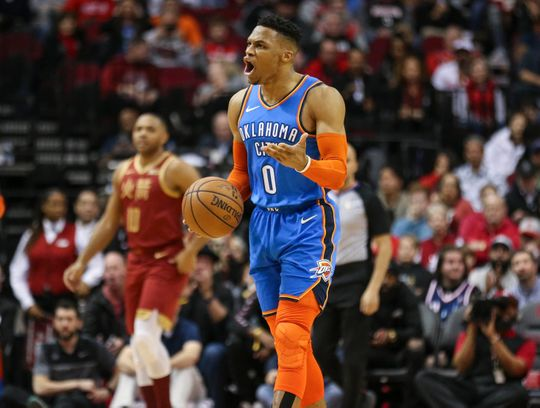 Russell Westbrook ties NBA record for consecutive triple-doubles; James Harden scores 42
