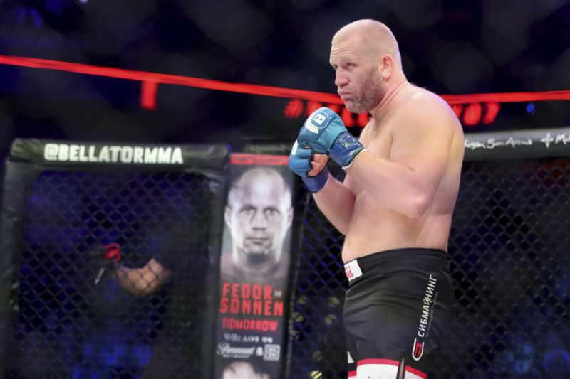 Bellator 215 ends early after Sergei Kharitonov takes kick to groin