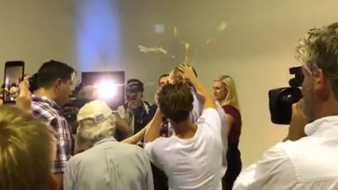 Australian Senator Fraser Anning punches teen after being egged