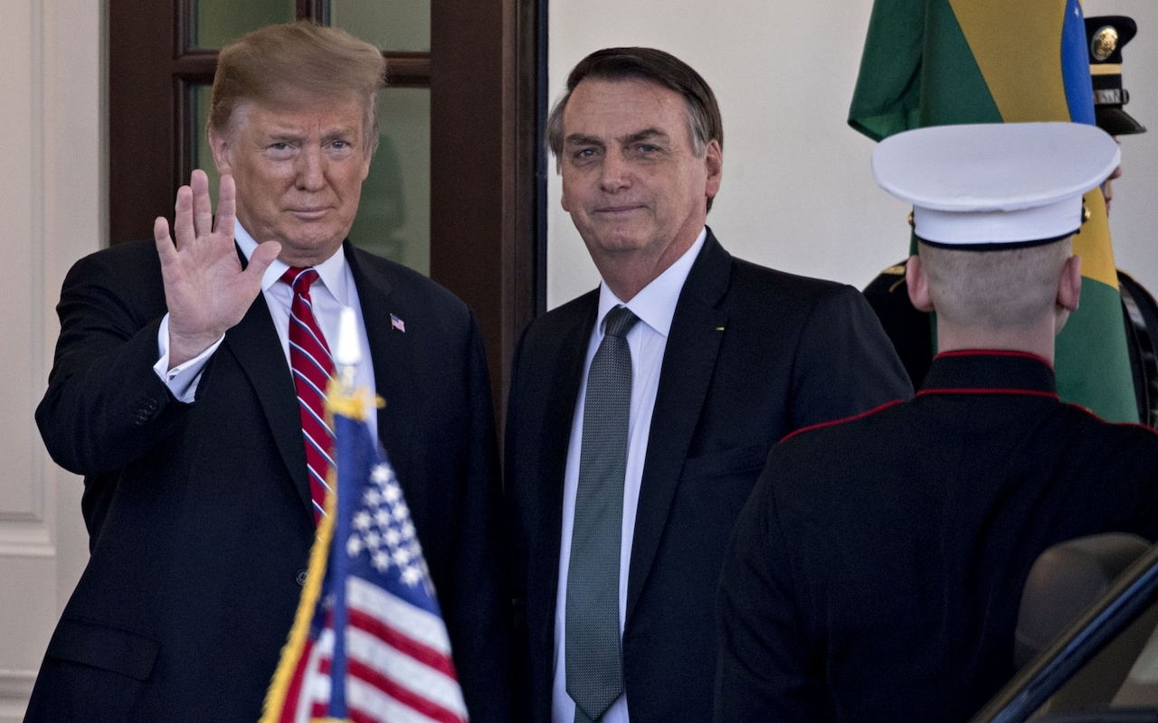 Donald Trump suggests Brazil could join Nato as he meets Jair Bolsonaro