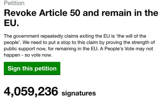 Brexit stitch up: Revoke Article 50 petition hits 4 million – could pass 5 million TONIGHT