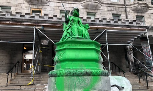 Vandals strike again: Downtown statue of Queen Victoria doused in green paint