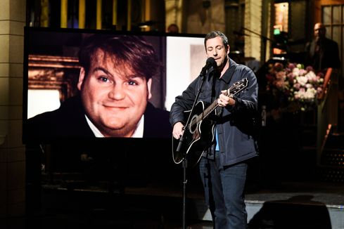 SNL: Adam Sandler sings about being fired with Chris Rock, pays tribute to Chris Farley