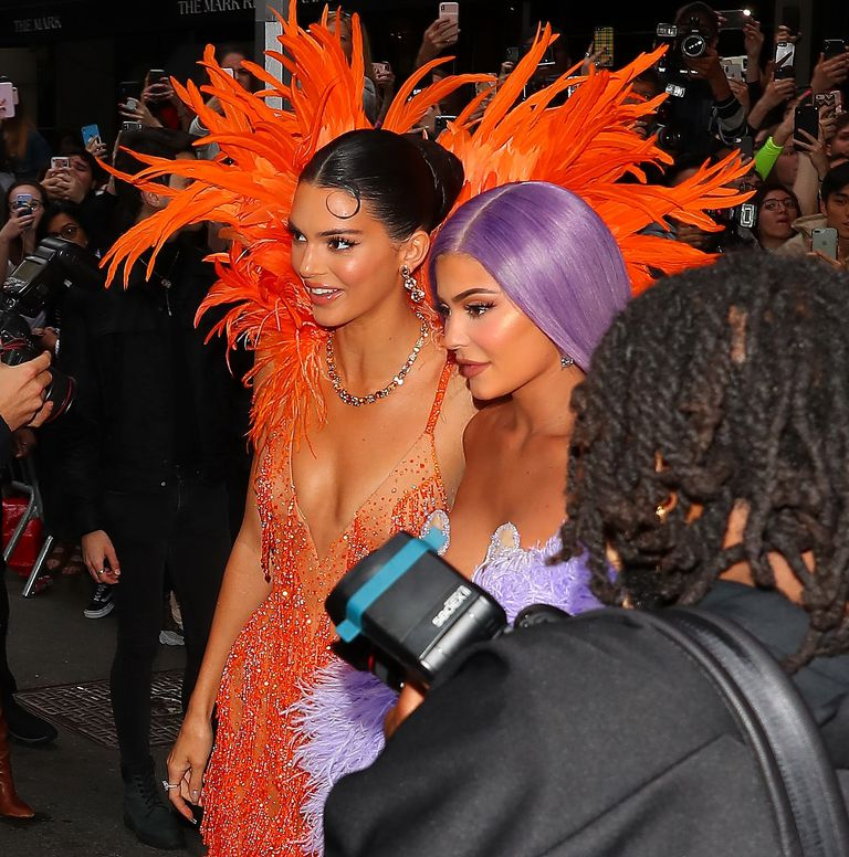 Kendall and Kylie Jenner Wore Twinning Feathered Gowns to the Met Gala