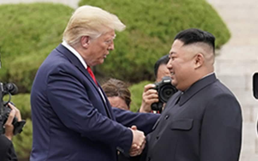 Donald Trump shares handshake with Kim Jong-un at DMZ, becoming first sitting US president to enter North Korea