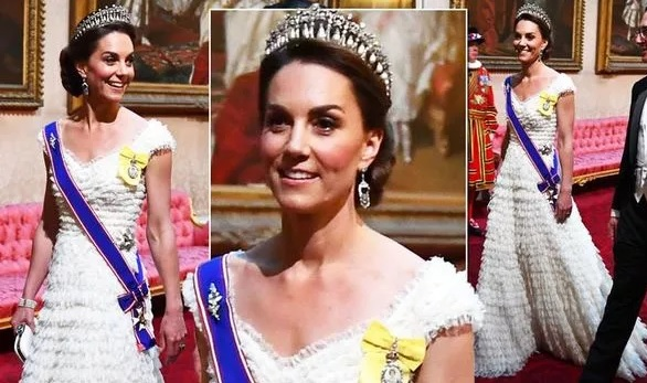 Kate Middleton attends Donald Trump state banquet in white lace dress