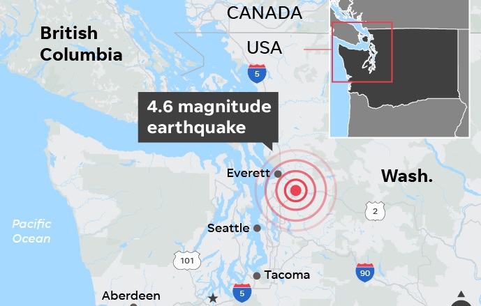 Earthquake rattles Washington state, followed by aftershock