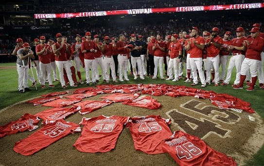 Tyler Skaggs mother threw out the first pitch. Then his teammates threw a no-hitter
