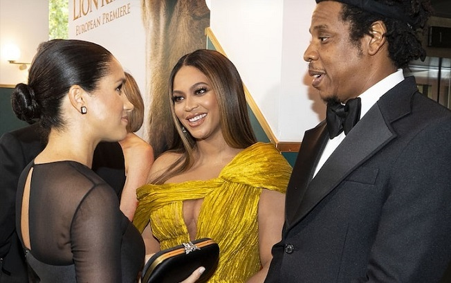Beyonce Hugs Meghan Markle at Londons Lion King Premiere