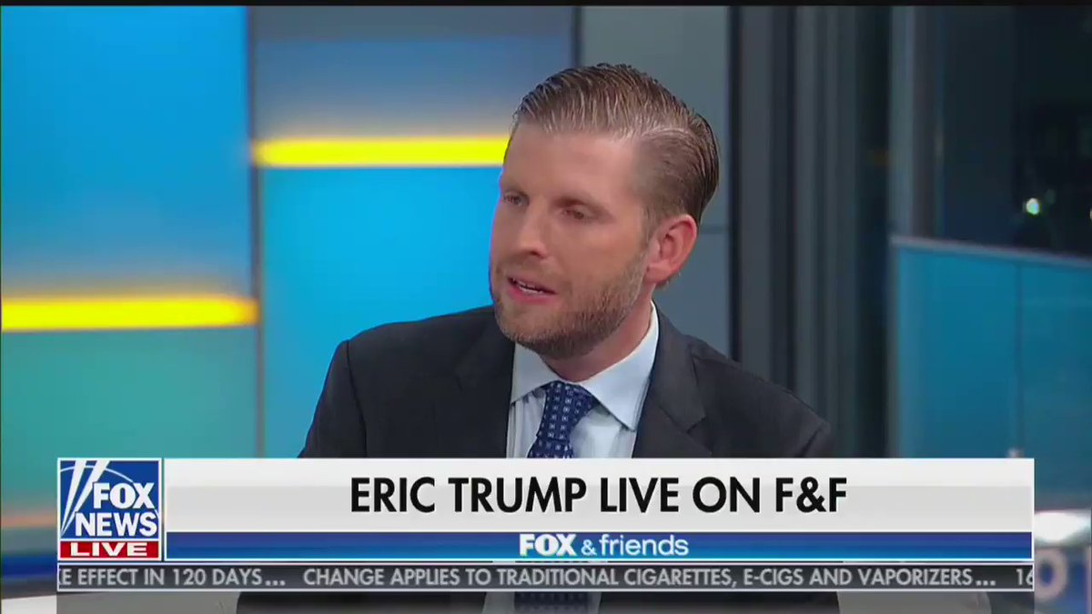 I love the tweet: Eric Trump says 95% of Americans agree with his dads message to love US or leave