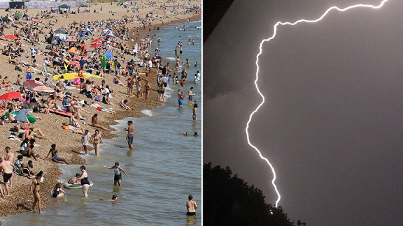 Thunderstorms strike Britain ahead of record-breaking heat