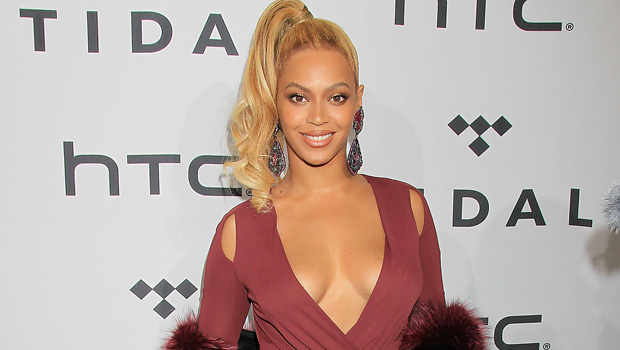 Beyonce Shows Major Leg In Red Thigh-High Slit Dress With Jay-Z