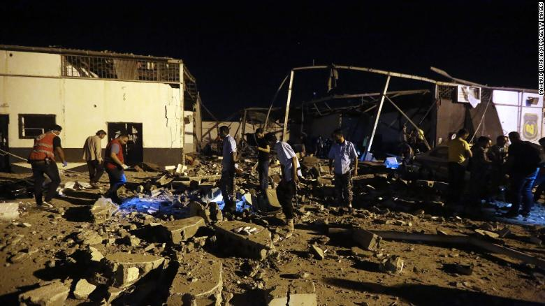 At least 40 killed after airstrike targets migrant center in Libya